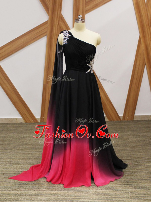 Cute Multi-color Sleeveless Chiffon Brush Train Criss Cross Prom Evening Gown for Prom and Party