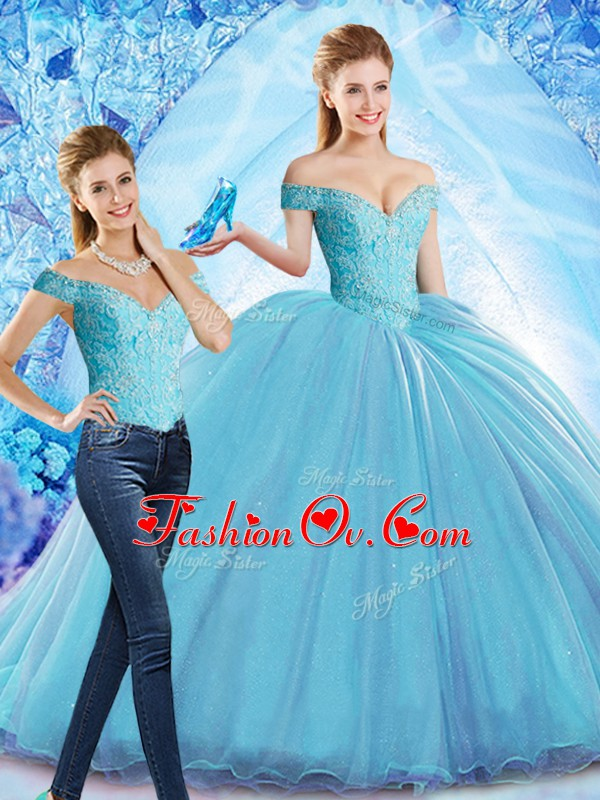 Lace Up Quinceanera Gown Baby Blue for Military Ball and Sweet 16 and Quinceanera with Beading Sweep Train