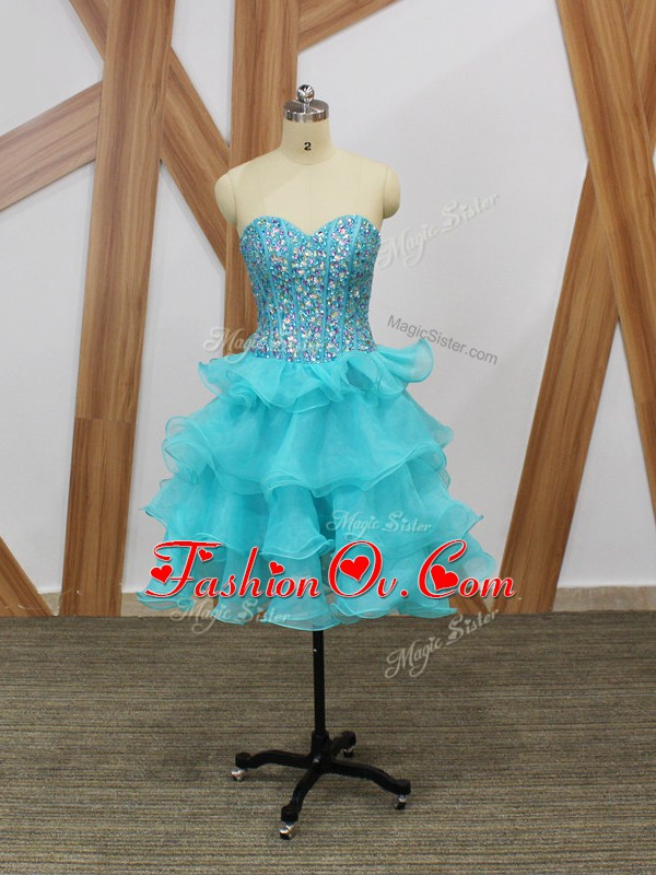 Great Mini Length Zipper Cocktail Dress Aqua Blue for Prom and Party and Sweet 16 with Beading and Ruffled Layers