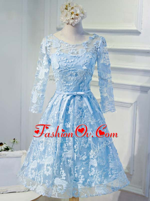 Long Sleeves Appliques and Belt Lace Up Cocktail Dresses