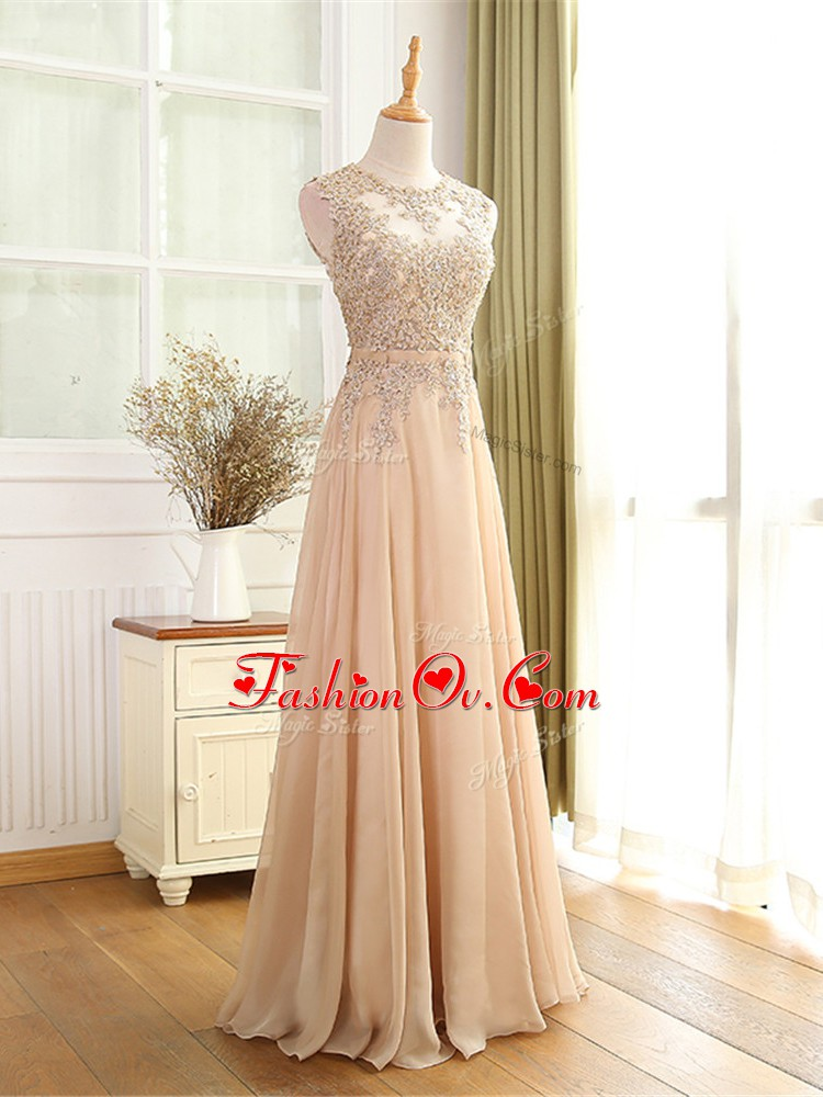 Scoop Sleeveless Chiffon Homecoming Dress Online Beading and Appliques Zipper