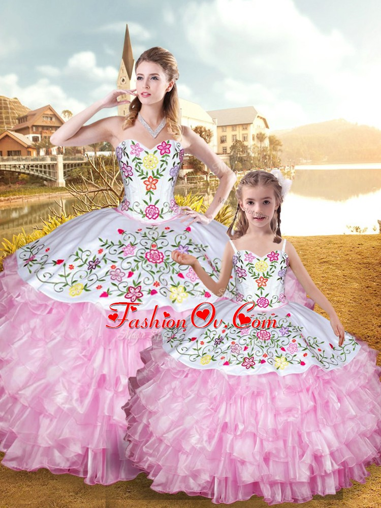 Sweetheart Sleeveless Lace Up 15 Quinceanera Dress Rose Pink Organza and Taffeta