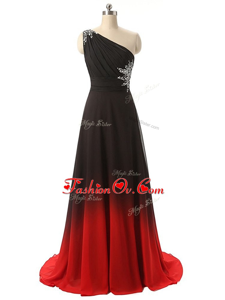 Best Selling One Shoulder Sleeveless Brush Train Lace Up Prom Dress Multi-color Fading Color