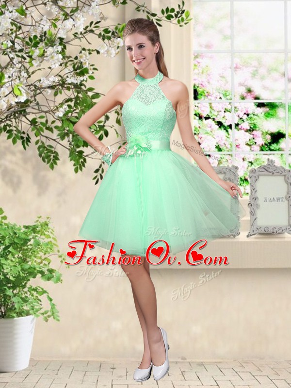 Hot Sale Apple Green A-line Tulle Halter Top Sleeveless Lace and Belt Knee Length Lace Up Quinceanera Court Dresses