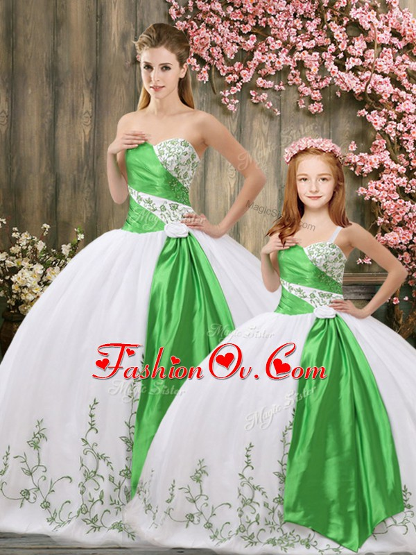 Chic Organza Sleeveless Floor Length Ball Gown Prom Dress and Embroidery and Belt