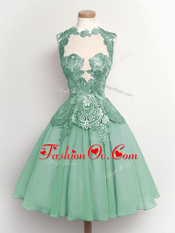 Light Blue Lace Up High-neck Lace Damas Dress Chiffon Sleeveless