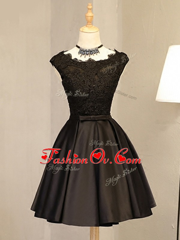 Flirting Lace and Appliques Evening Dress Black Zipper Sleeveless Mini Length
