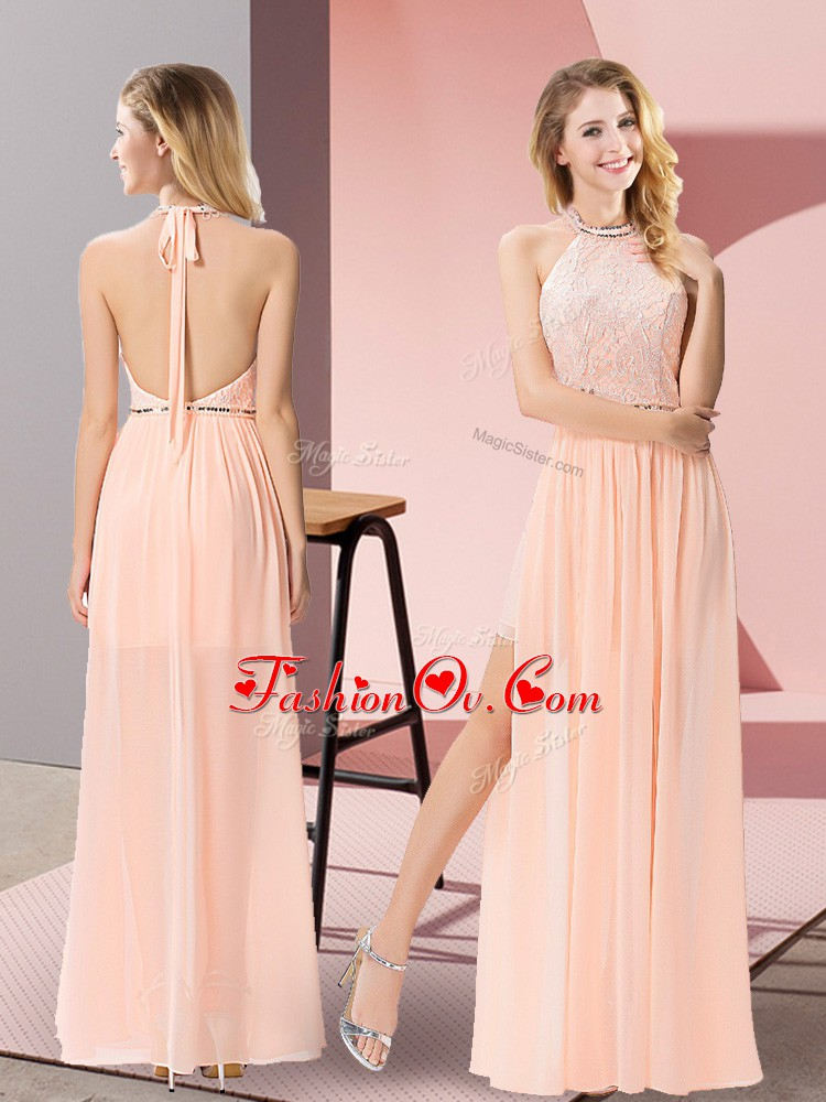Halter Top Sleeveless Floor Length Sequins Peach Chiffon