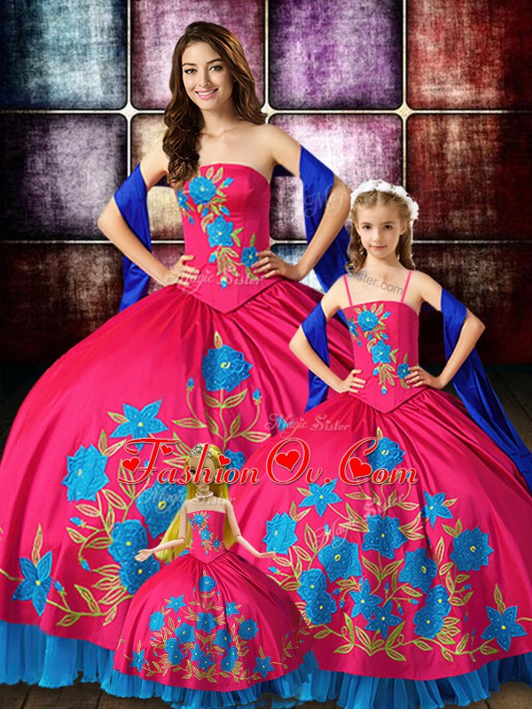 Edgy Hot Pink Ball Gowns Strapless Sleeveless Taffeta Floor Length Lace Up Embroidery Sweet 16 Quinceanera Dress
