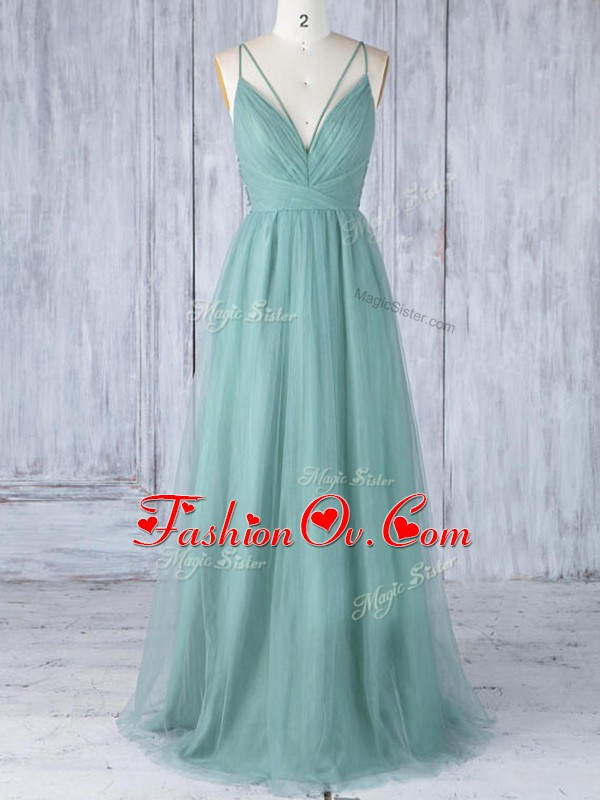 Low Price Green Bridesmaid Gown Prom and Party and Wedding Party with Appliques V-neck Sleeveless Criss Cross