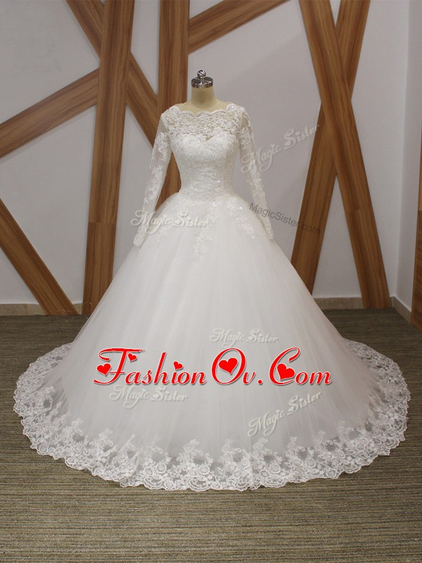 Fabulous Scalloped Sleeveless Tulle Wedding Gown Beading and Appliques Court Train Zipper