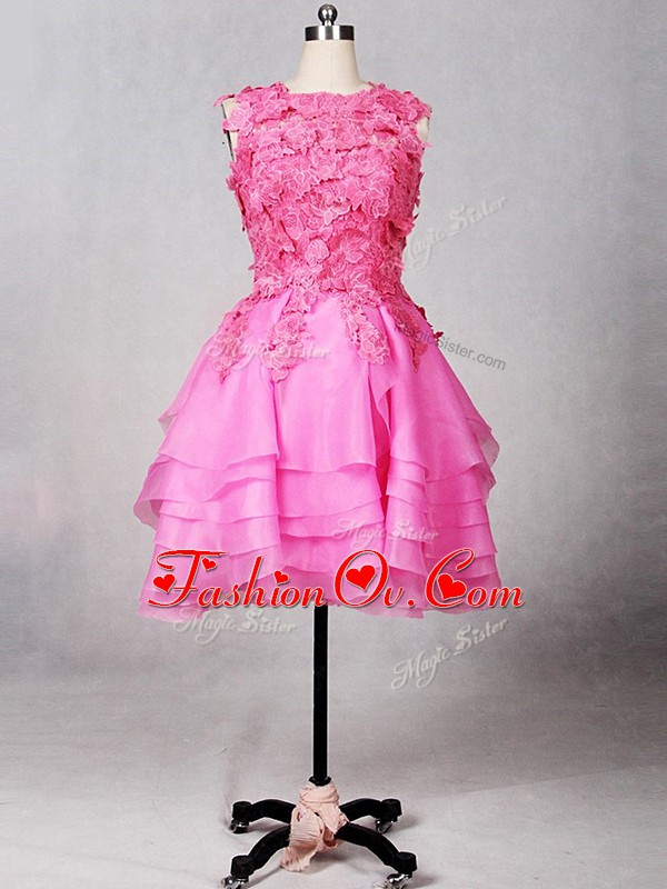 Trendy Rose Pink Zipper Junior Homecoming Dress Lace and Appliques and Ruffled Layers Sleeveless Knee Length