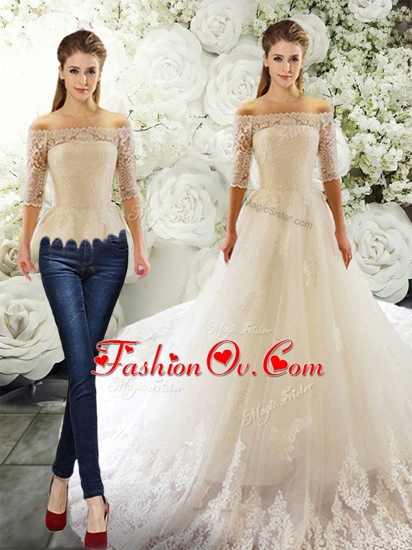Off The Shoulder Half Sleeves Court Train Clasp Handle Wedding Dresses White Tulle