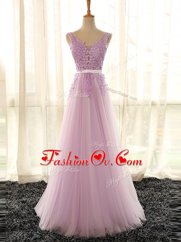 Sleeveless Tulle Floor Length Lace Up Vestidos de Damas in Lilac with Appliques