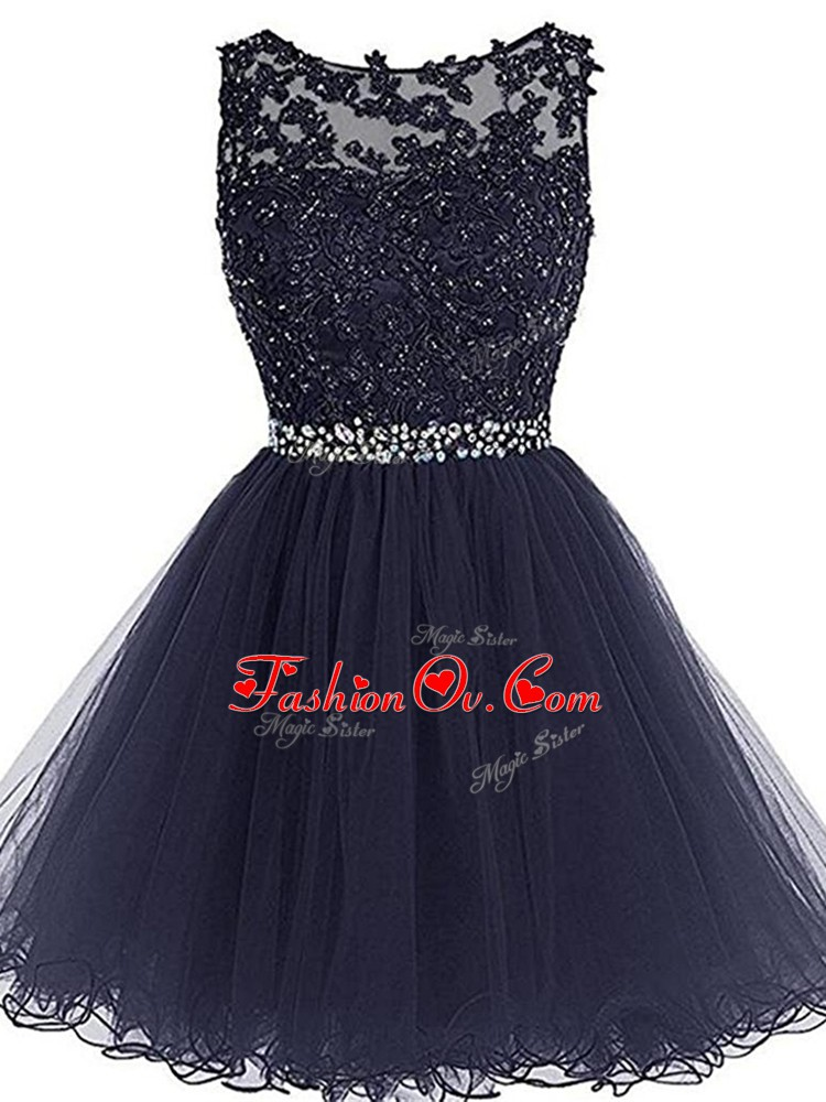 A-line Homecoming Dress Navy Blue Scoop Tulle Sleeveless Mini Length Zipper