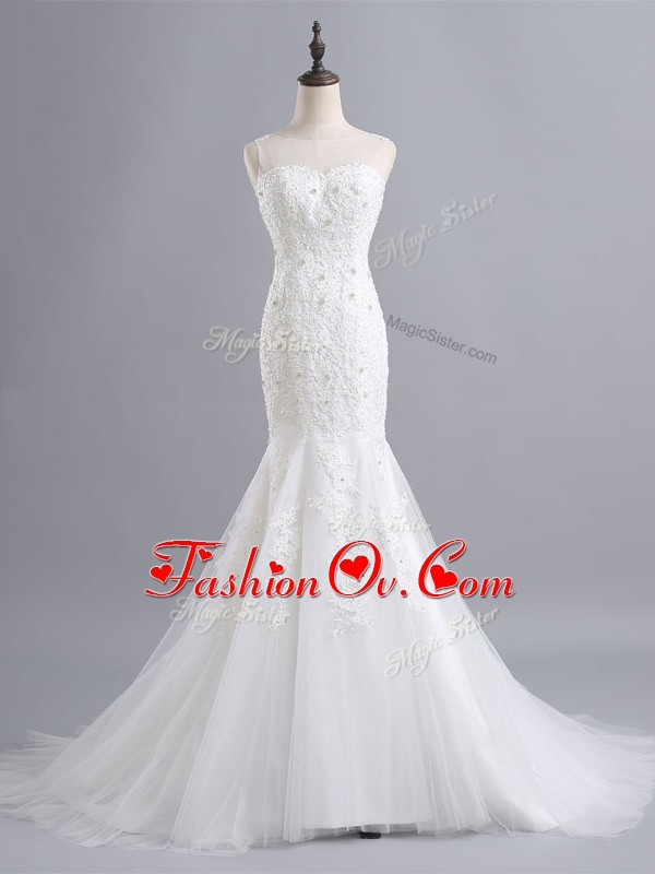 Perfect Sleeveless Brush Train Lace Zipper Wedding Gowns