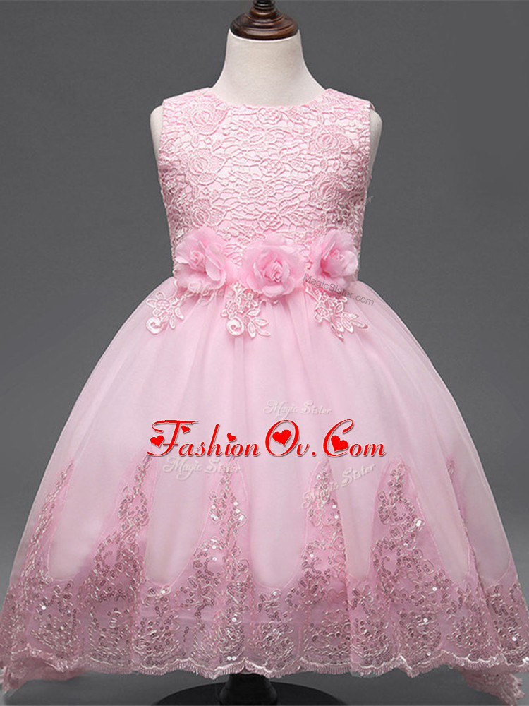 Sweet High Low Baby Pink Kids Formal Wear Tulle Sleeveless Lace and Appliques and Bowknot and Hand Made Flower
