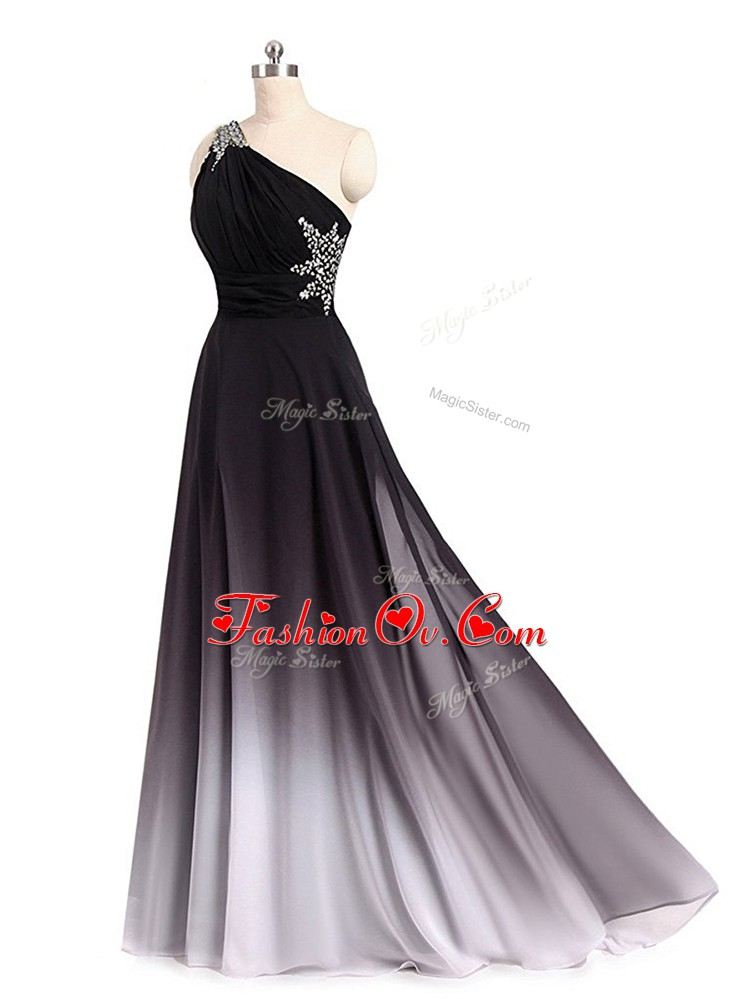 Lace Up Prom Evening Gown Multi-color for Prom and Sweet 16 and Quinceanera with Beading and Ruching Brush Train