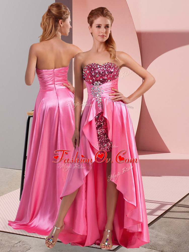 Captivating Rose Pink Sweetheart Neckline Beading and Sequins and Ruching Prom Dresses Sleeveless Zipper