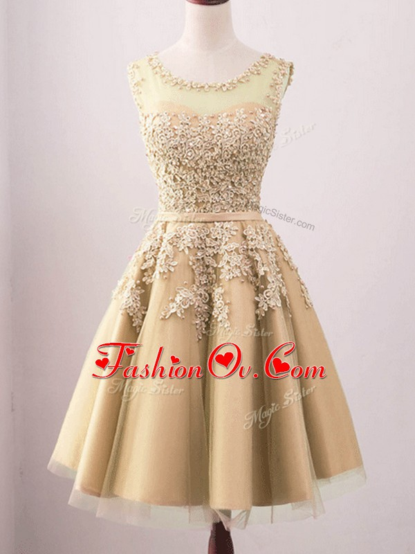 Traditional Sleeveless Lace Lace Up Wedding Party Dress