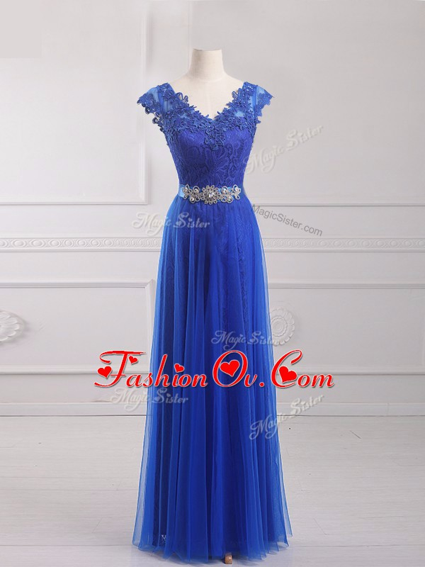 Royal Blue Tulle Lace Up Prom Dresses Short Sleeves Floor Length Beading and Lace and Appliques and Belt