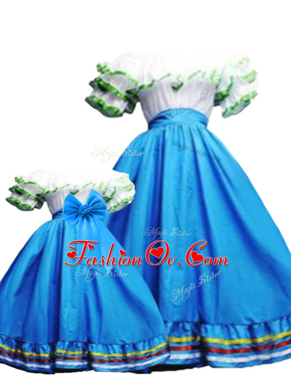 Admirable Baby Blue Lace Up Off The Shoulder Ruffled Layers Sweet 16 Dress Taffeta Sleeveless