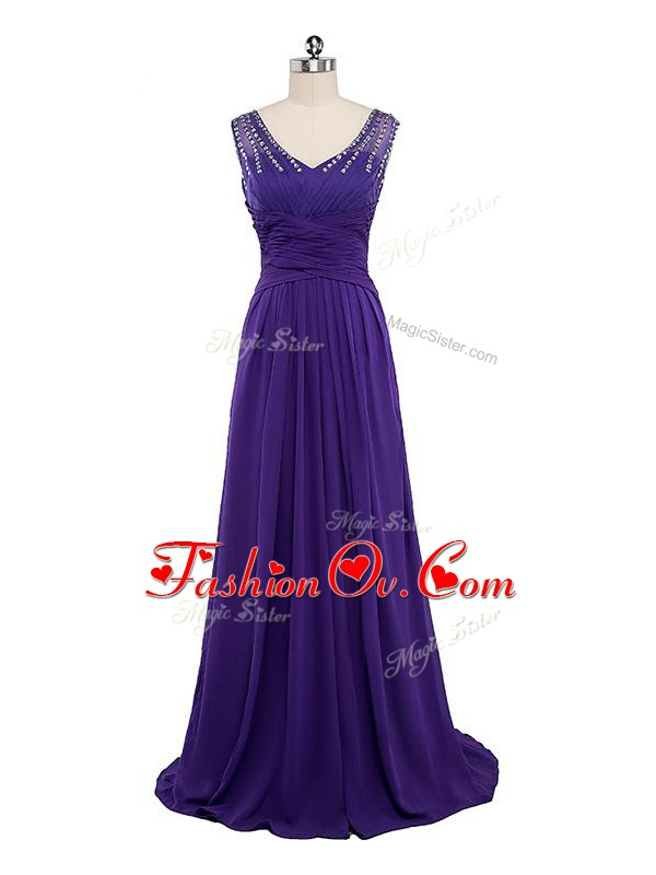 Chiffon Sleeveless Floor Length Red Carpet Prom Dress and Beading and Ruching