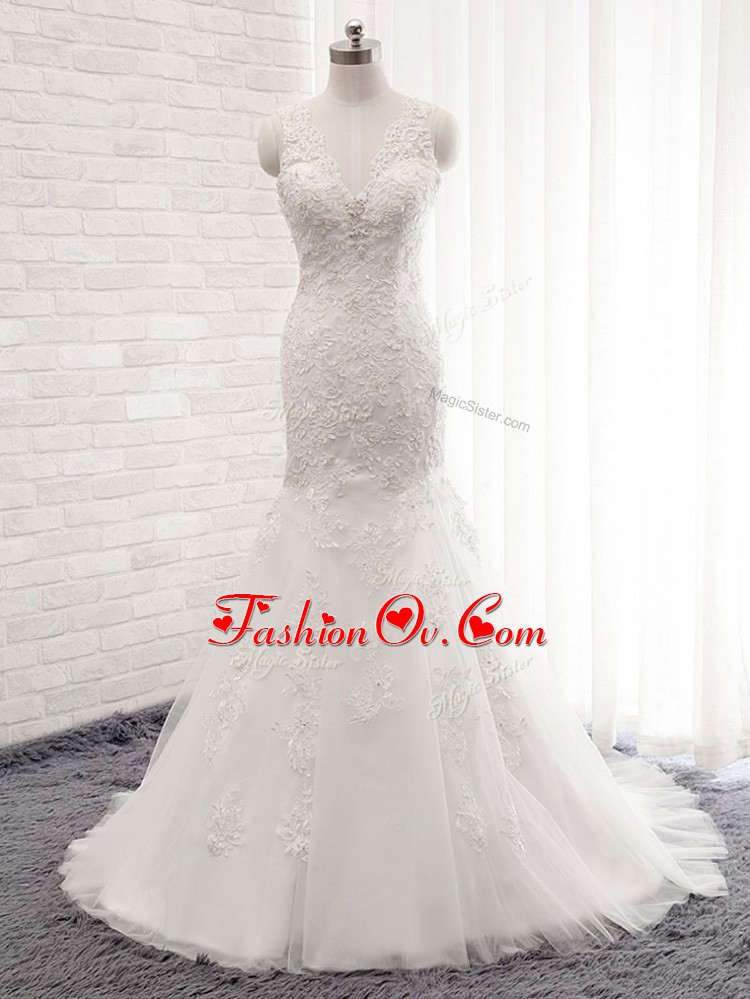 Fantastic White Wedding Gown Tulle Brush Train Sleeveless Lace