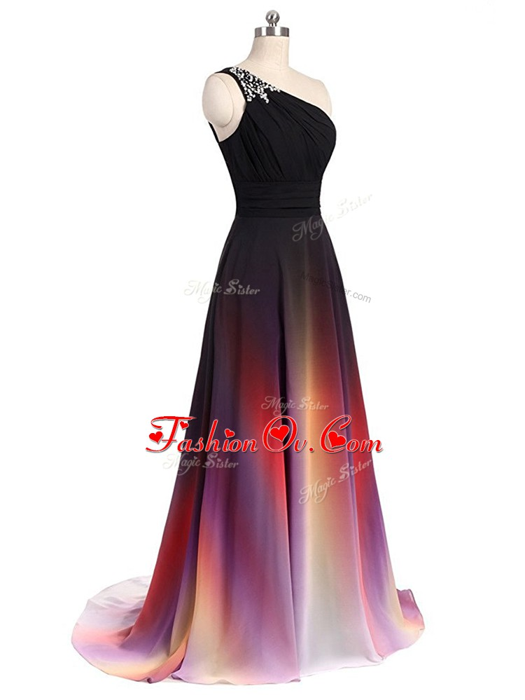 Multi-color Sleeveless Brush Train Beading Prom Dress