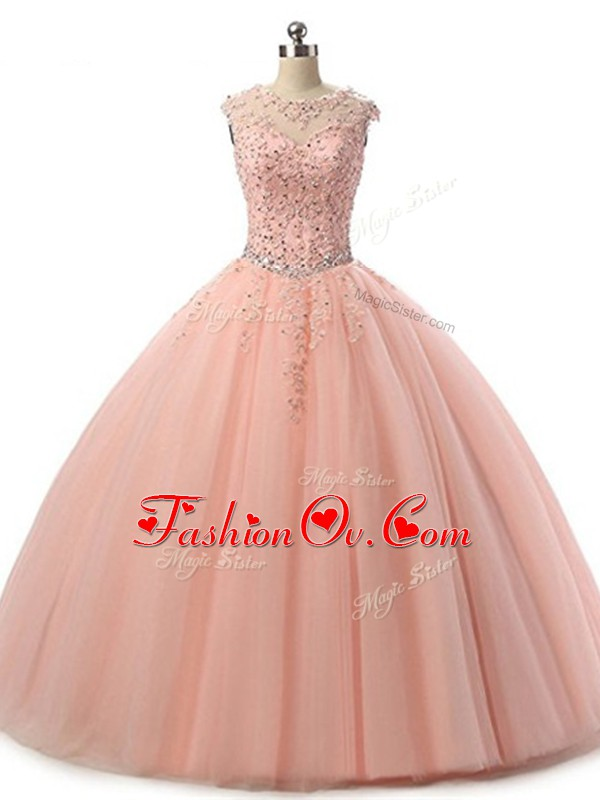 Classical Peach Tulle Lace Up Scoop Sleeveless Floor Length Sweet 16 Dress Beading and Lace
