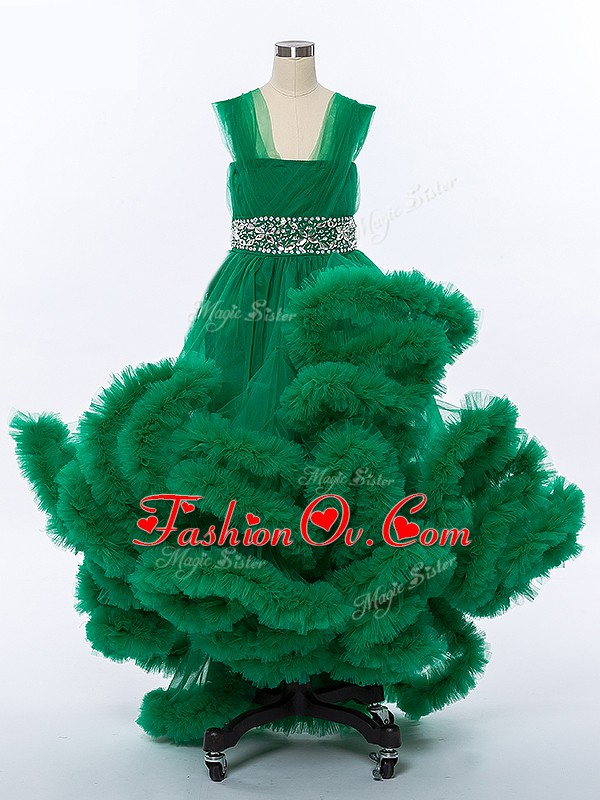Enchanting High Low A-line Sleeveless Dark Green Pageant Gowns For Girls Lace Up