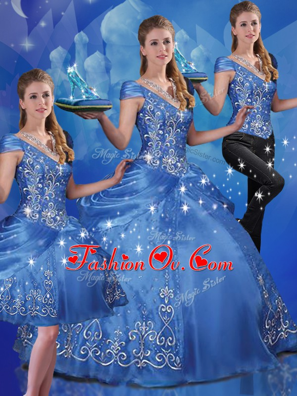 Blue Three Pieces Organza Off The Shoulder Cap Sleeves Beading and Embroidery Floor Length Lace Up Quince Ball Gowns