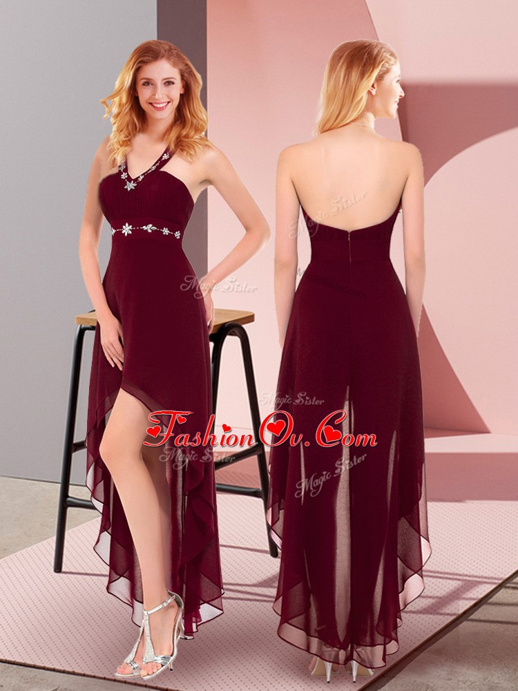 Sleeveless Chiffon High Low Zipper Cocktail Dress in Burgundy with Beading