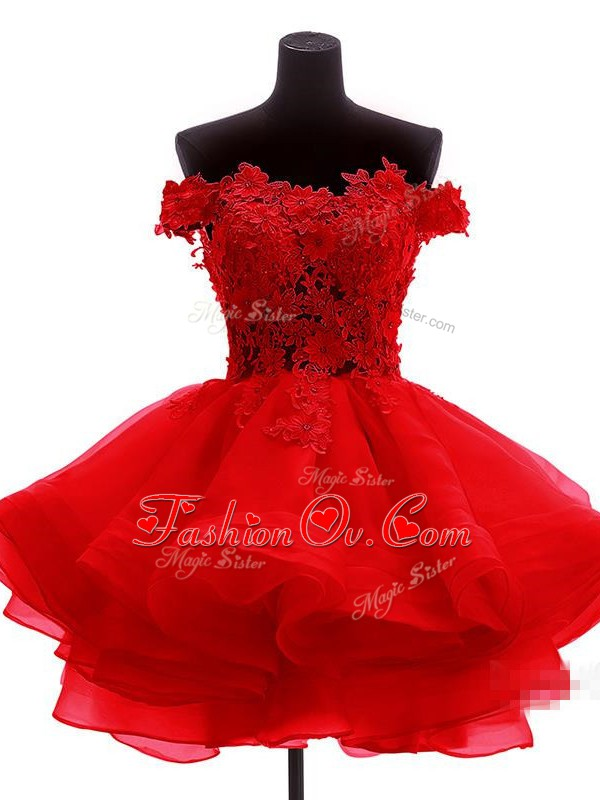 Red A-line Off The Shoulder Sleeveless Organza Mini Length Zipper Lace and Appliques and Ruffles Prom Homecoming Dress