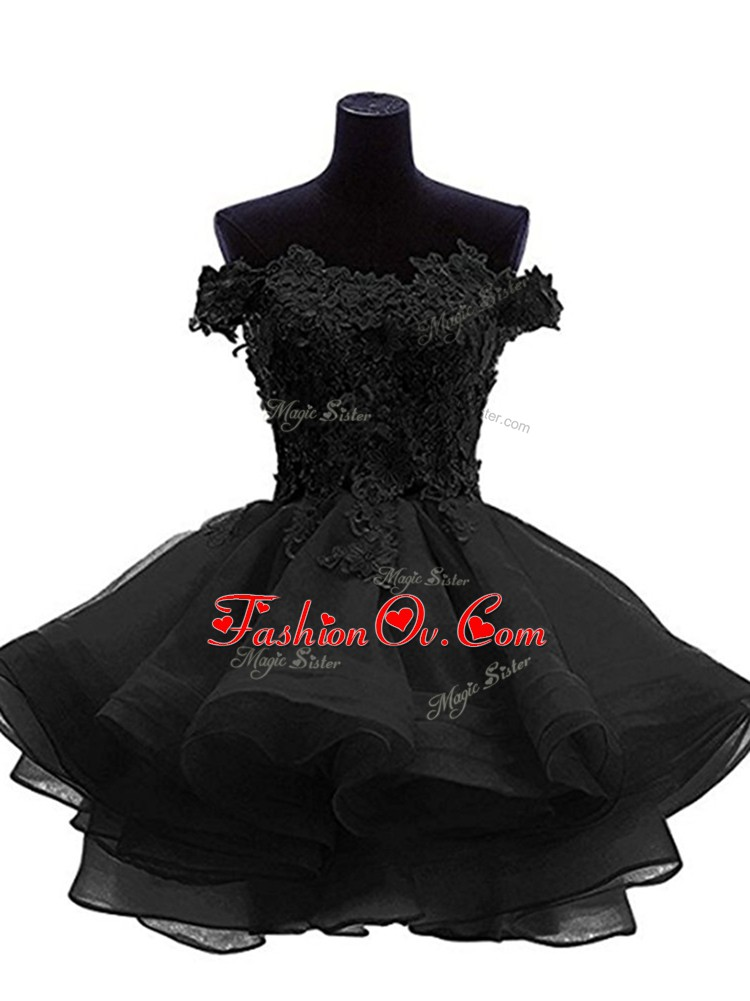 Fashionable Sleeveless Organza Mini Length Zipper Prom Dresses in Black with Beading and Lace and Appliques and Ruffles