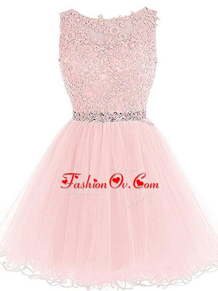 Excellent Tulle Sleeveless Mini Length Prom Dresses and Beading and Lace and Appliques and Ruffles
