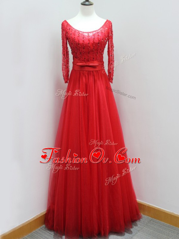 Scoop Long Sleeves Evening Dress Brush Train Beading and Belt Red Tulle