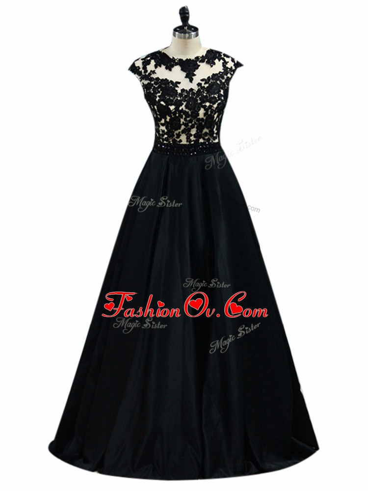Customized Black A-line Taffeta Scoop Sleeveless Beading and Lace and Embroidery Floor Length Backless Dress Like A Star