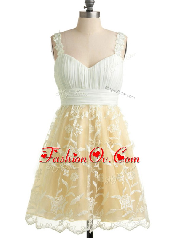 Knee Length Champagne Dama Dress for Quinceanera Lace Sleeveless Lace