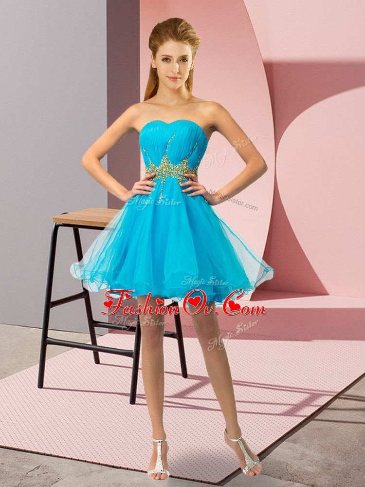 Pretty Mini Length Baby Blue Cocktail Dress Tulle Sleeveless Beading and Ruching