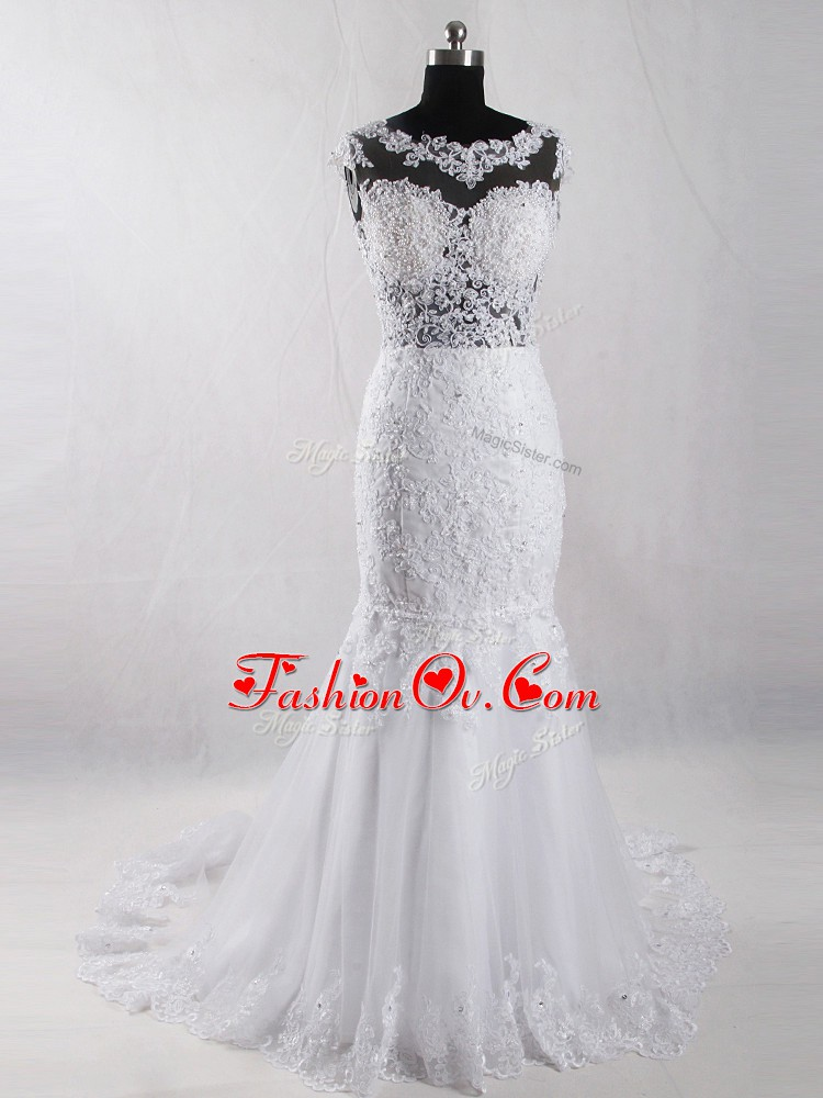 Affordable White Side Zipper Bridal Gown Lace Sleeveless Court Train