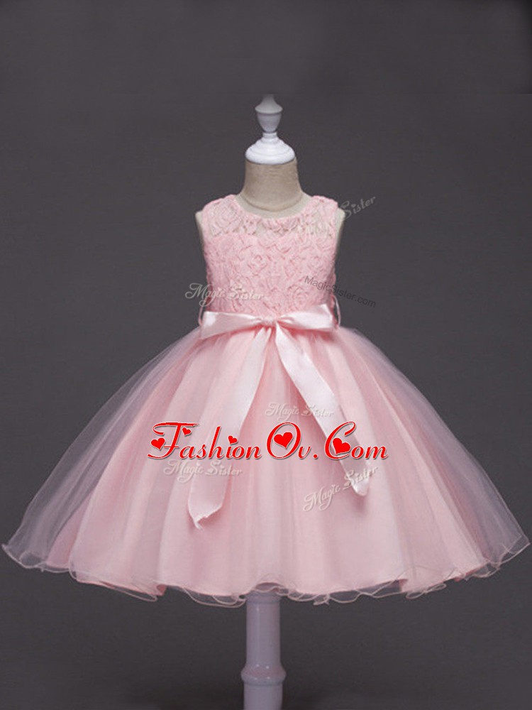 Baby Pink Ball Gowns Tulle Scoop Sleeveless Lace and Belt Knee Length Zipper Kids Pageant Dress
