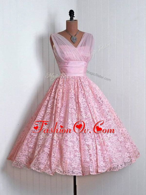 Affordable Baby Pink Lace Up Court Dresses for Sweet 16 Lace Sleeveless Mini Length