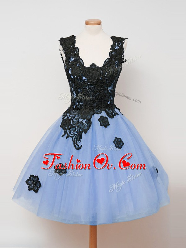 Light Blue Zipper Straps Lace Bridesmaid Dresses Tulle Sleeveless