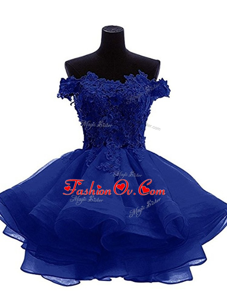 Mini Length Zipper Prom Dress Royal Blue for Prom and Party and Sweet 16 with Beading and Lace and Appliques and Ruffles