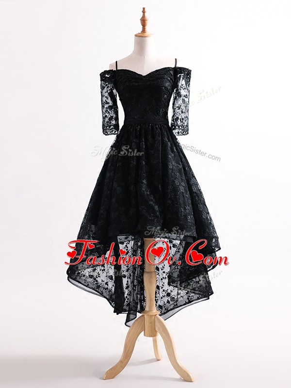 Straps Half Sleeves Lace Up Prom Gown Black Tulle
