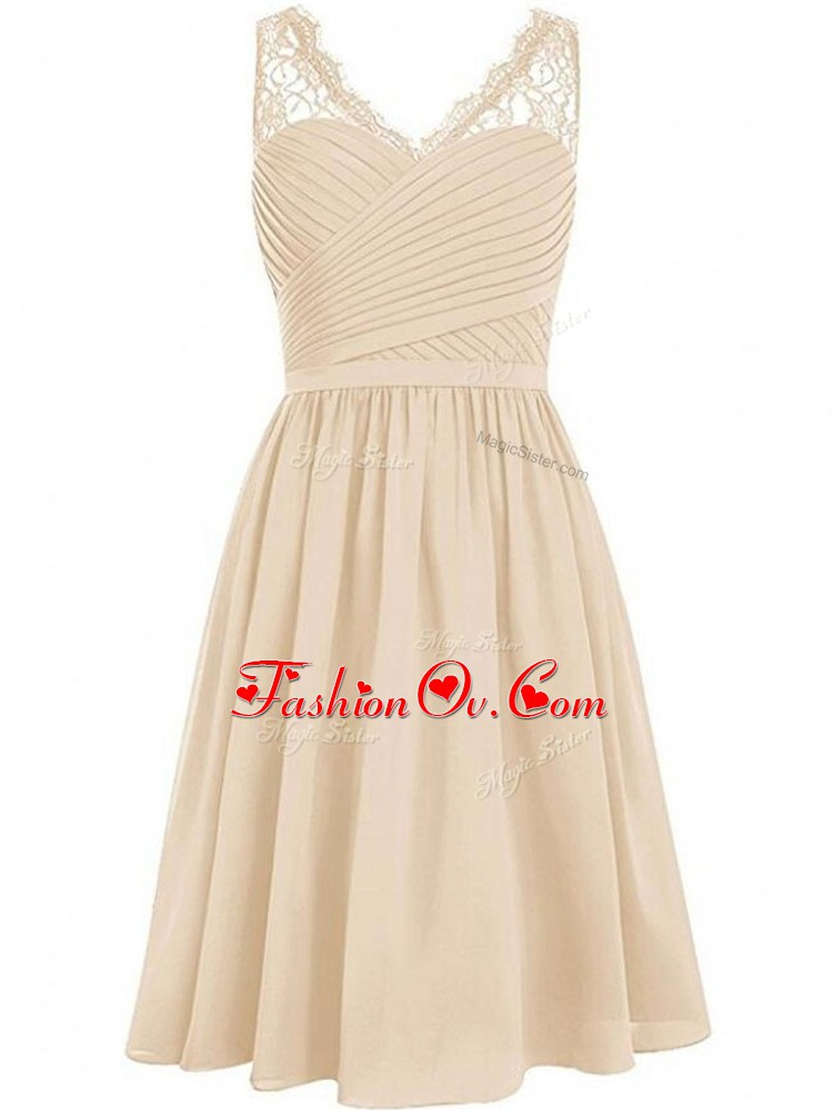 Sleeveless Knee Length Lace and Ruching Side Zipper Quinceanera Dama Dress with Champagne