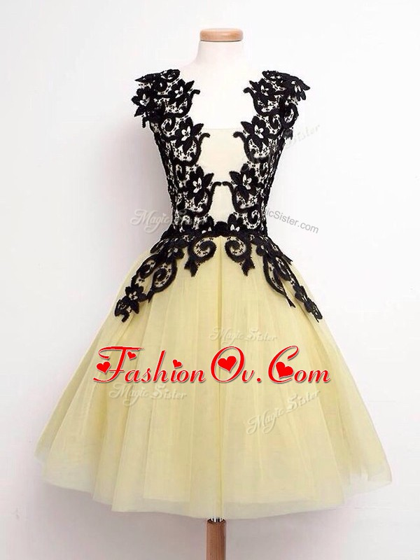 Eye-catching Gold Wedding Guest Dresses Prom and Party and Wedding Party with Lace Straps Sleeveless Lace Up