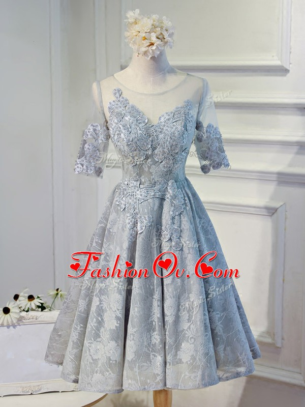 Pretty Organza Half Sleeves Knee Length Hoco Dress and Lace and Appliques