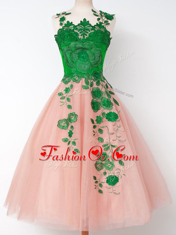 Hot Selling Pink Bridesmaid Dresses Prom and Party and Wedding Party with Appliques Straps Sleeveless Lace Up